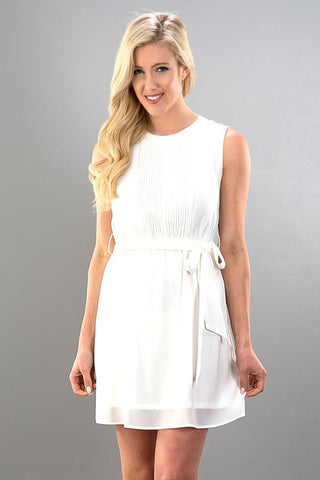 Simple Spring Dress with a Sash - Ivory