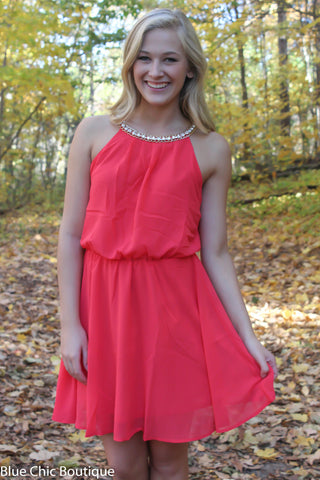 Red Dress with Rhinestone Detail - Blue Chic Boutique  - 3