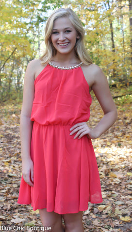 Red Dress with Rhinestone Detail - Blue Chic Boutique  - 2