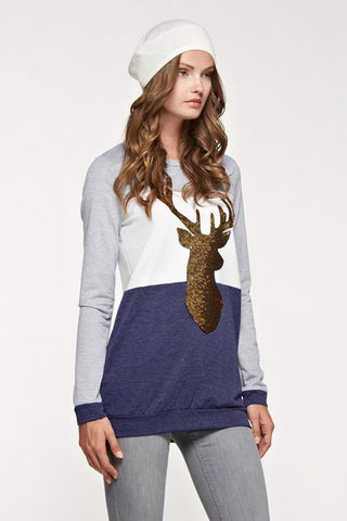 Sequin Reindeer Tunic Color Block Top - Navy - Blue Chic Boutique  - 1