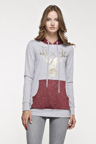 Sparkle Reindeer Hoodie - Burgundy - Blue Chic Boutique  - 1
