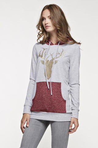 Sparkle Reindeer Hoodie - Burgundy - Blue Chic Boutique  - 2