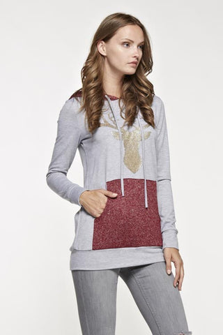 Sparkle Reindeer Hoodie - Burgundy - Blue Chic Boutique  - 3