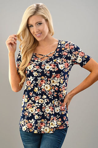 Spring Floral Criss Cross Top - Navy