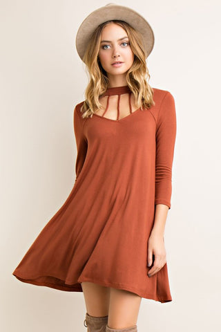 Fall Essence Dress - Rust - Blue Chic Boutique  - 1