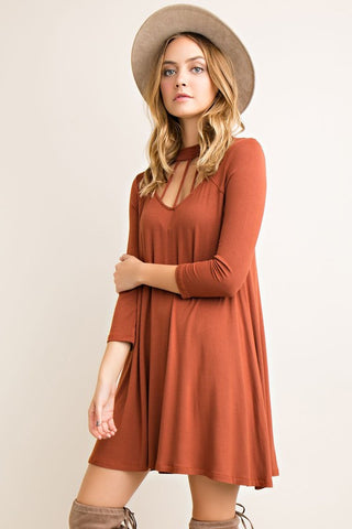 Fall Essence Dress - Rust - Blue Chic Boutique  - 2