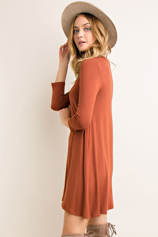 Fall Essence Dress - Rust - Blue Chic Boutique  - 3
