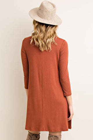 Fall Essence Dress - Rust - Blue Chic Boutique  - 4