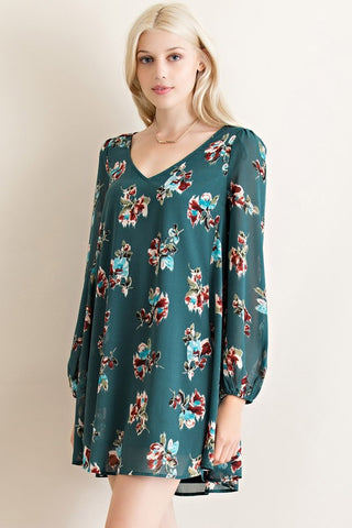 Evergreen Floral Dress - Blue Chic Boutique  - 2