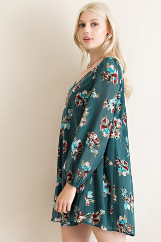 Evergreen Floral Dress - Blue Chic Boutique  - 3
