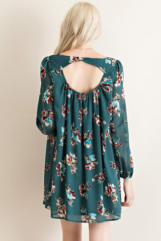 Evergreen Floral Dress - Blue Chic Boutique  - 4