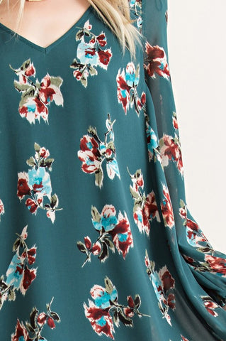 Evergreen Floral Dress - Blue Chic Boutique  - 5