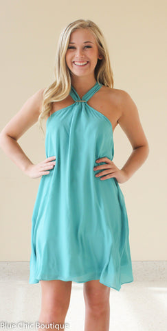 South of the Border Halter Dress - Dark Mint - Blue Chic Boutique  - 1