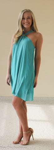 South of the Border Halter Dress - Dark Mint - Blue Chic Boutique  - 5