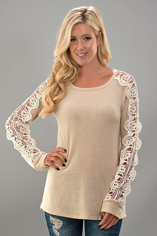 Crochet Sleeve Knit Top - Taupe - Blue Chic Boutique  - 2