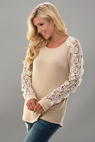 Crochet Sleeve Knit Top - Taupe - Blue Chic Boutique  - 1