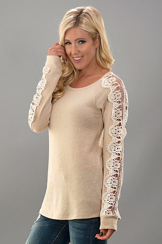 Crochet Sleeve Knit Top - Taupe - Blue Chic Boutique  - 3