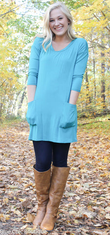 Button Back Tunic - Green - Blue Chic Boutique  - 1