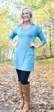 Button Back Tunic - Green - Blue Chic Boutique  - 2