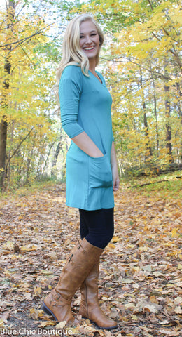 Button Back Tunic - Green - Blue Chic Boutique  - 3