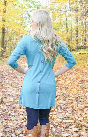 Button Back Tunic - Green - Blue Chic Boutique  - 4