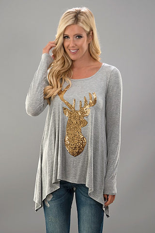 Sequined Reindeer Tunic Top - Gray - Blue Chic Boutique  - 1