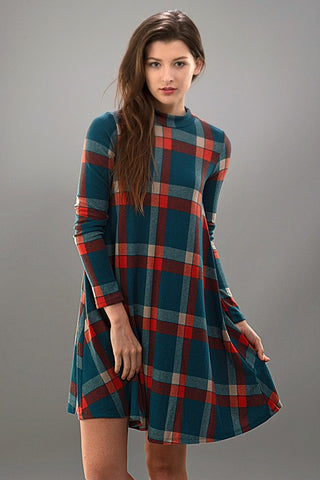 Fall Frame of Mind Plaid Dress - Blue Chic Boutique  - 1