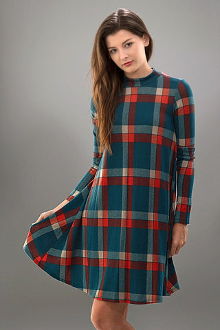 Fall Frame of Mind Plaid Dress - Blue Chic Boutique  - 2