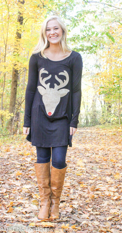 Glitter Reindeer Tunic - Black - Blue Chic Boutique  - 2