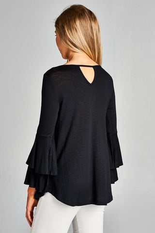 Criss Cross Peasant Top - Black