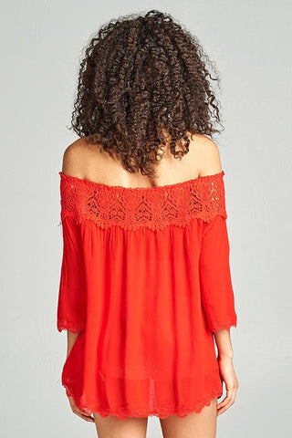 Lovely Lace Off Shoulder Top - Red