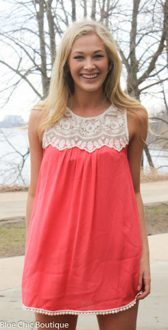 Coral Lace Top - Blue Chic Boutique  - 1