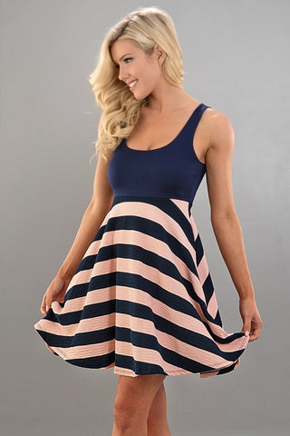 Striped Peach and Navy Dress