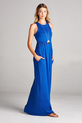 Solid Racerback Maxi Dress - Royal Blue
