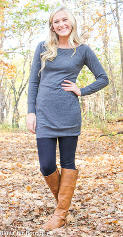 Endless Possibilities Tunic Dress - Charcoal - Blue Chic Boutique  - 1