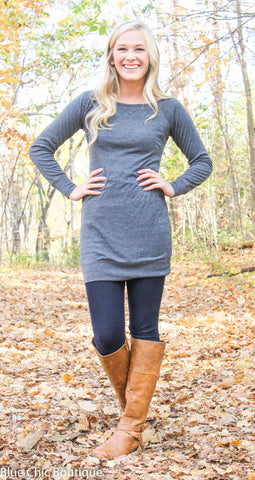 Endless Possibilities Tunic Dress - Charcoal - Blue Chic Boutique  - 3