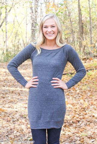 Endless Possibilities Tunic Dress - Charcoal - Blue Chic Boutique  - 5