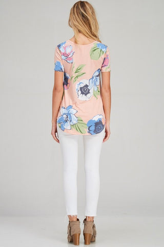 Meet Me in Miami Floral Top - Peach