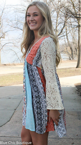 Flower Child Peasant Dress - Orange and Aqua - Blue Chic Boutique  - 5
