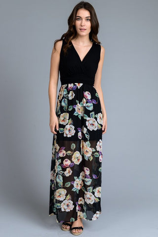 Spring Meadow Maxi Dress - Black