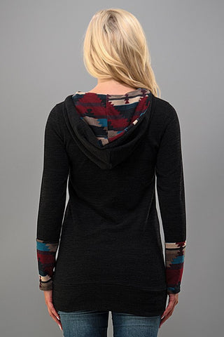Aztec Hoodie - Black - Blue Chic Boutique  - 4