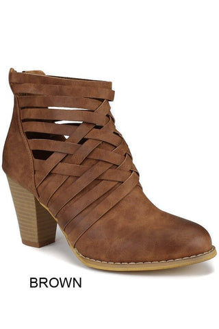 Strappy Booties - Brown - Blue Chic Boutique