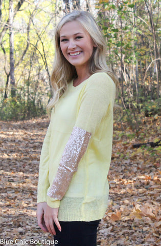 Sparkle and Shine Sequined Sleeved Sweater - Yellow - Blue Chic Boutique  - 8
