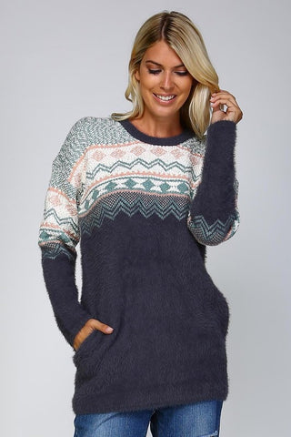 Cozy Day Sweater - Charcoal - Blue Chic Boutique  - 1