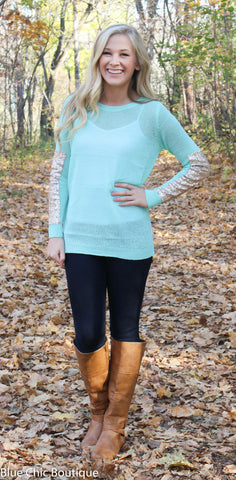 Sparkle and Shine Sequined Sleeved Sweater - Mint - Blue Chic Boutique  - 5