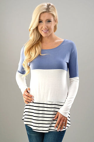 Stripes and Solids Lace Top - Dusty Blue