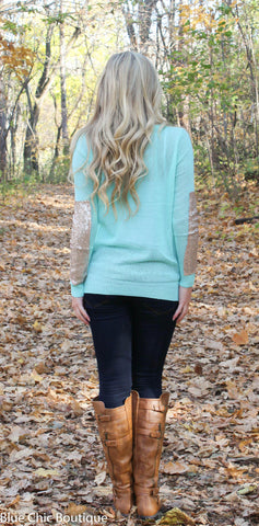 Sparkle and Shine Sequined Sleeved Sweater - Mint - Blue Chic Boutique  - 6