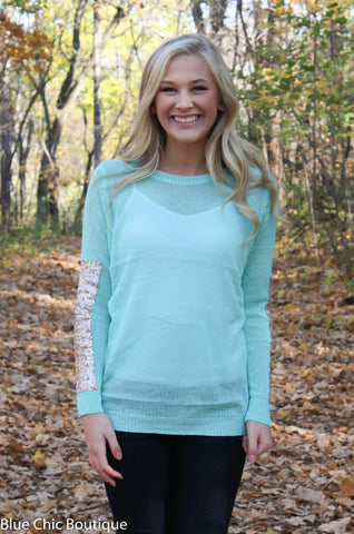 Sparkle and Shine Sequined Sleeved Sweater - Mint - Blue Chic Boutique  - 7