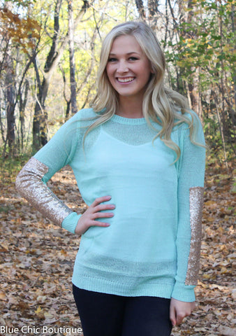 Sparkle and Shine Sequined Sleeved Sweater - Mint - Blue Chic Boutique  - 3