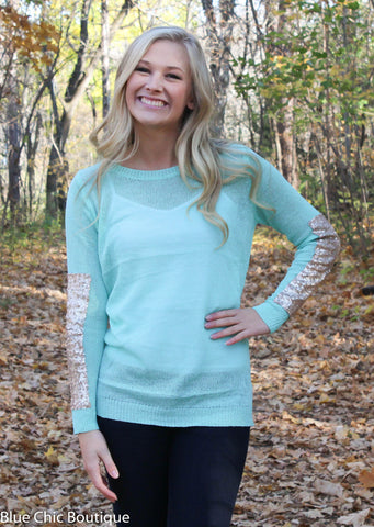 Sparkle and Shine Sequined Sleeved Sweater - Mint - Blue Chic Boutique  - 8